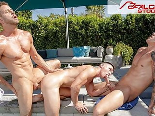 3 Hunks Get Hot & Heavy By The Pool – FalconStudios