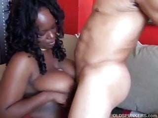 Mature black BBW with lovely big tits sucks cock like a pro