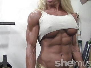 Blond her insane body gym...