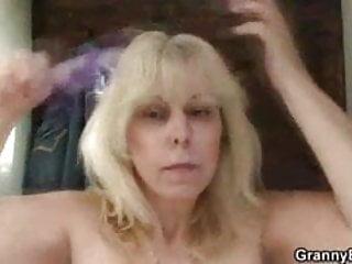 Blonde granny outdoor stranger...