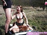 Young skinny german schoolgirl in outdoor threesome private