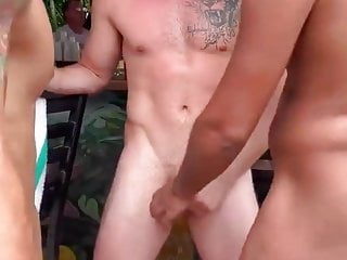 Boys going wild at a pool party