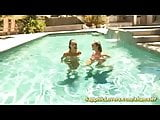 lesbian sex in the pool with Brett Rossi and Celeste