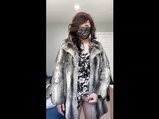 Asian sissy crossdresser chinchilla fur coat