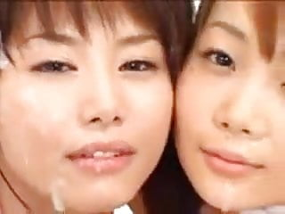 2 Asian girls bukkake