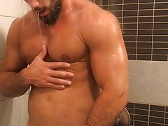 David In The Shower Showing Up His Abs