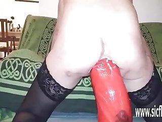 Gargantuan anal dildo fucked amateur wife