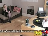 FakeAgentUK Stocking clad MILF gives oral feast on casting
