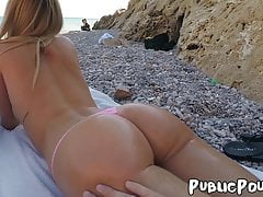Stunning Erica Fontes has public sex on the beach