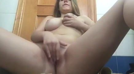 Girl masturbating on bathroom