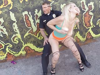 Police officers harass side road hooker, then banged her in public