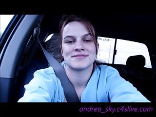 Topless riding around andrea sky...