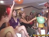 Masked stripper receives blowjobs from naughty bachelorettes