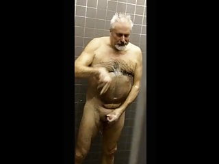 hairy daddy takes a shower