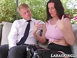 Mature English beauty sucking cock in the back yard