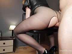 He fucks teacher's big ass in ripped pantyhose and high heels