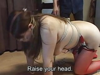 Voluptuous Japanese BDSM leash walking hot wax on big butt