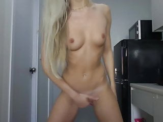 Blonde Bitch Fingers Her Firm Shaved Cunt