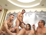 Shemale takes 5 cocks in wild gangbang
