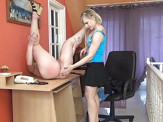 employee Strict lazy boss spanks lady her