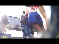Teen in stockings upskirt in street