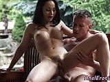 Trimmedpussy babe asssfucked in cowgirl