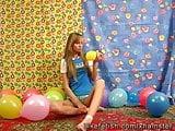 Girlfriend Maya funny playing with balloons