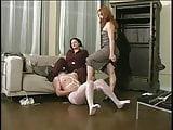 2 mature ladies catch a voyeur & spank his ass