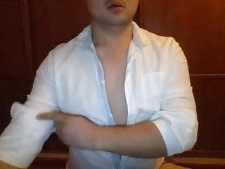 Shirt Bear White Asian Cums on in Cam