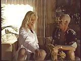 old creep watching blonde babe