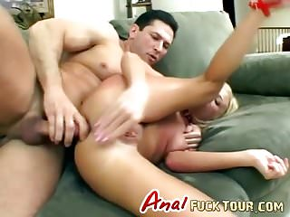 Horny blonde gets hardcore anal sex
