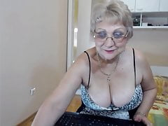 Big boob grandma strips on webcam