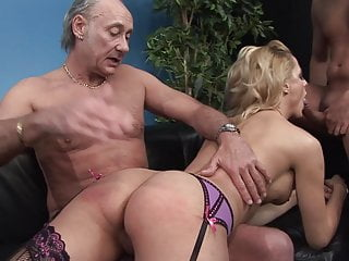 Babysitter fucked hard in nasty threesome...