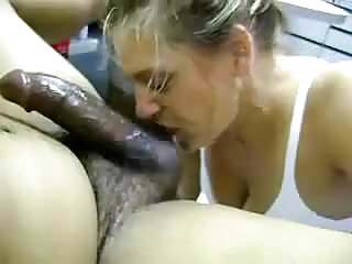White woman worships cock...