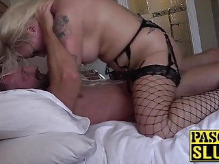 Voluptuous chick lets dom abuse her and licks his ass hole