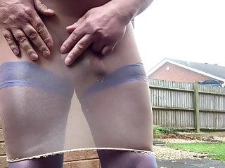 Peeing and cumshot blue stockings...