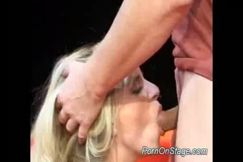 Nasty blonde stripper gets fucked and blowjob on stage
