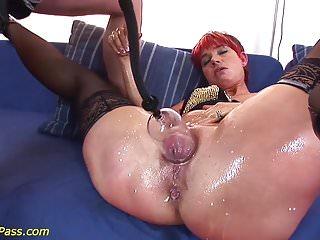 Redhead gets anal pumped...