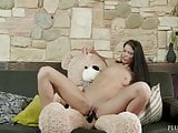 Russian Lovenia Lux first time sex with a teddy bear, plush