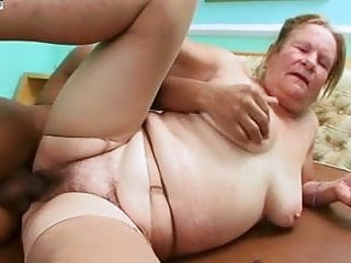 Hairy granny fucks with young guy...