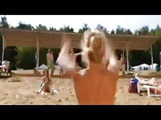Nude busty russian woman beach...