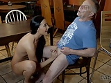 DADDY4K. Grey-haired dad makes love to his sons chick