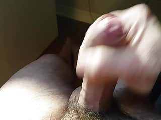 Fapping and playing with my cum and foreskin uncut cock