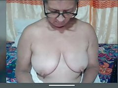 Granny Candy flashes saggy tits with big nipples