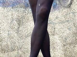 Crossdresser with massive outdoor cum drip on black...