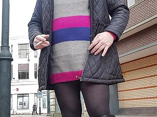 Amateur Shemale Solo Shemale video: Sissy smoking in public