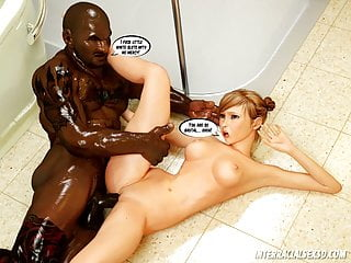 Trouble Interracial Big 3D In Bathroom