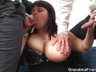 Old pussy is nailed by two cocks...