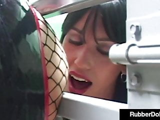 Hot glossy gal rubberdoll cages busty sex slave...