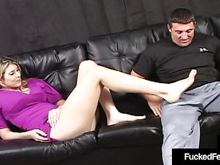 6 Ft Tall Athena Pleasures Foot Fucks Cock With Size 12s!